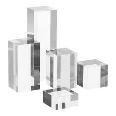 Plexiglas rechthoekige displayzuilenset in verschillende hoogtes