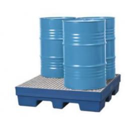 Opvangbakken van kunststof (PE) 1 tot 4 vaten van 200 liter en klein emballage.