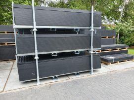 Stapelkratten voor rijplaten   3000x1000   Voorzien van 6 losse rongen en goten voor lepels / vorken heftruk