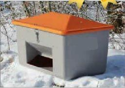 Opslag container voor zout of zand 1100L met schepgat