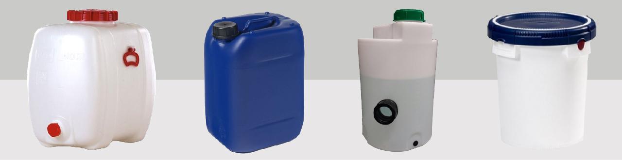 Kleine opslag tot 200L van jerrycans, emmers, opslagtanks, kunststof vaten en kunststof potten tot trechters en doseercontainers.