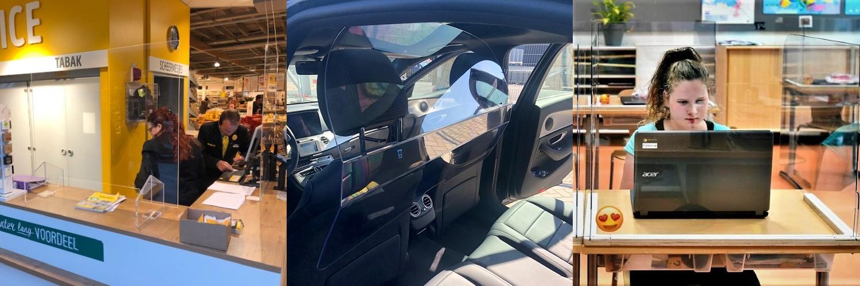 Plexiglas Coronaschermen voor winkels, auto of taxi, zorg en scholen